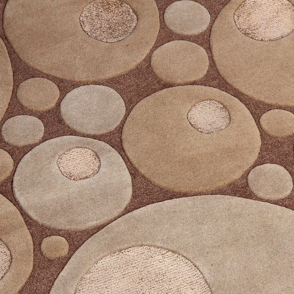 BROWN BEIGE BUBBLE SHAPE HAND TUFTED RUG