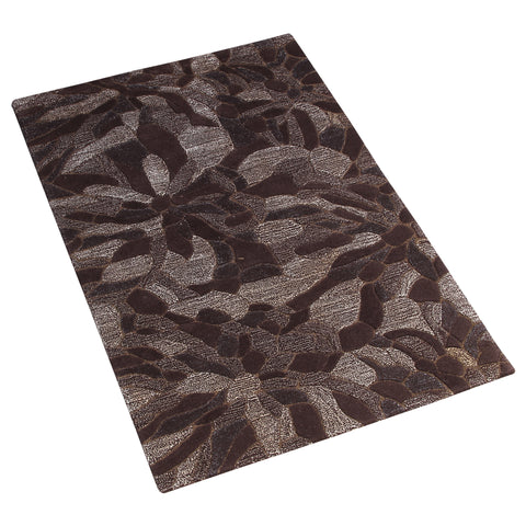 BROWN FLORAL EMBOSSED HAND TUFTED RUG