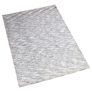 GREYISH BLUE WHITE CHECKED HAND TUFTED RUG