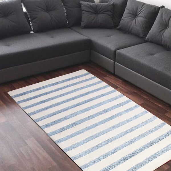 BEIGE BLUE HORIZONTAL STRIPES HAND TUFTED RUG