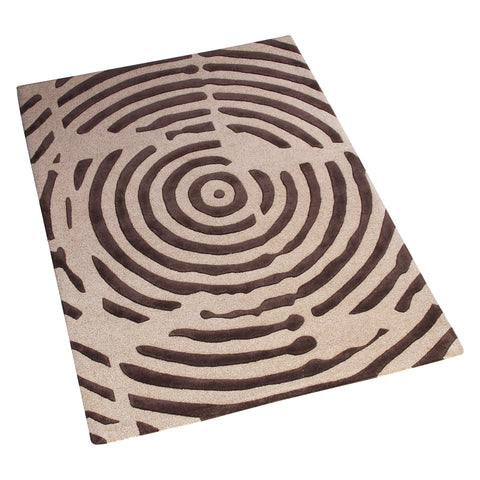 BEIGE BROWN GEOMETRIC HAND TUFTED RUG