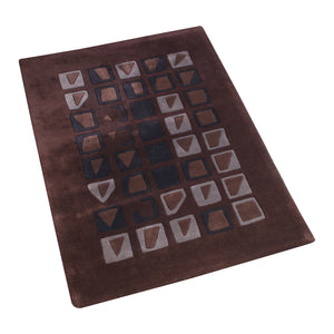 BROWN BLACK ABSTRACT HAND TUFTED RUG