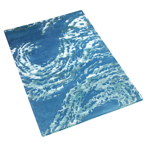 BLUE GREY AQUA DESIGN HAND TUFTED RUG
