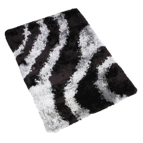 GREY BLACK SOLID SHAGGY RUG