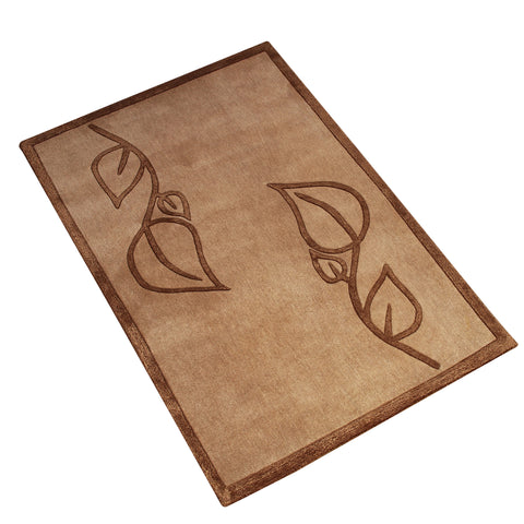 BEIGE BROWN FLORAL EMBOSSED HAND TUFTED RUG
