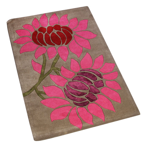 BROWN PINK FLORAL HAND TUFTED RUG