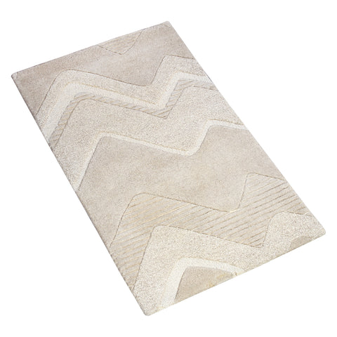 BEIGE EMBOSSED BRAIDED HAND TUFTED RUG