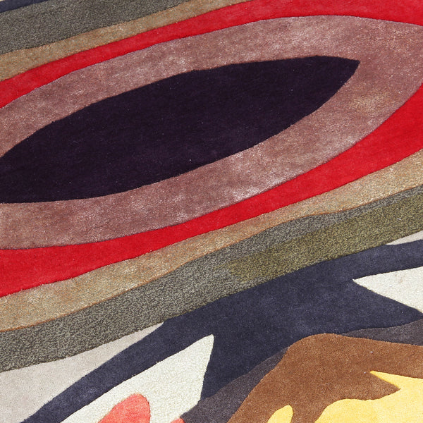 BLACK MULTI COLOR ABSTRACT HAND TUFTED RUG