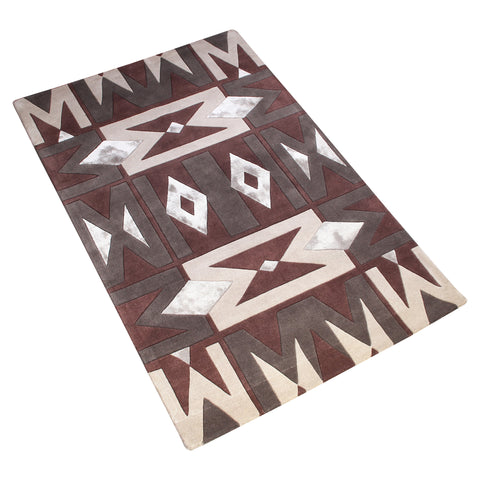 MAROON BROWN GREY GEOMETRIC HAND TUFTED RUG