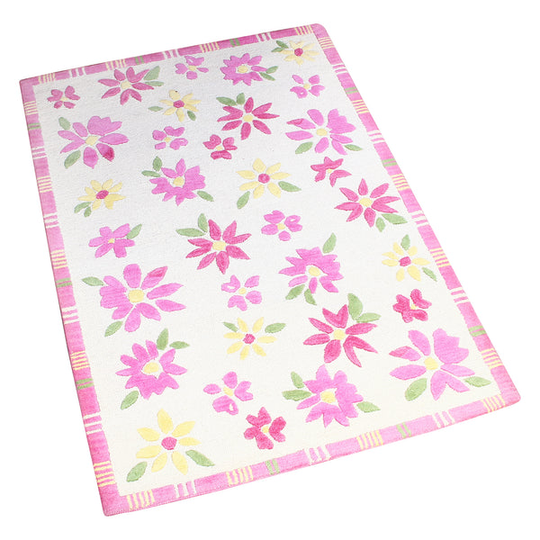 WHITE AND PINK FLORAL HAND TUFTED RUG