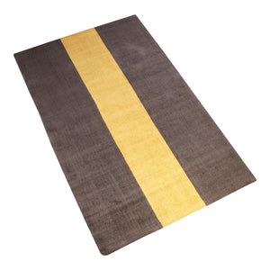 BROWN AND YELLOW STRIPES HAND TUFTED RUG