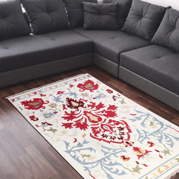 WHITISH BEIGE MULTI COLOR SUZANI DURRIE RUG