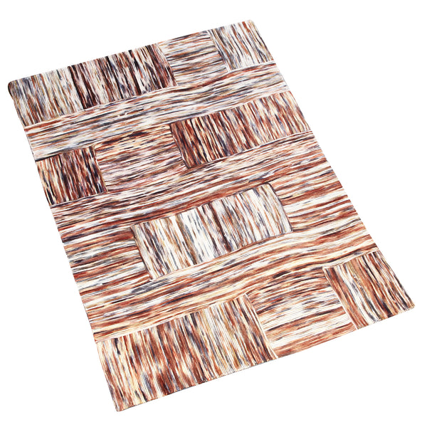 BROWN BRAIDED ABSTRACT HAND TUFTED RUG