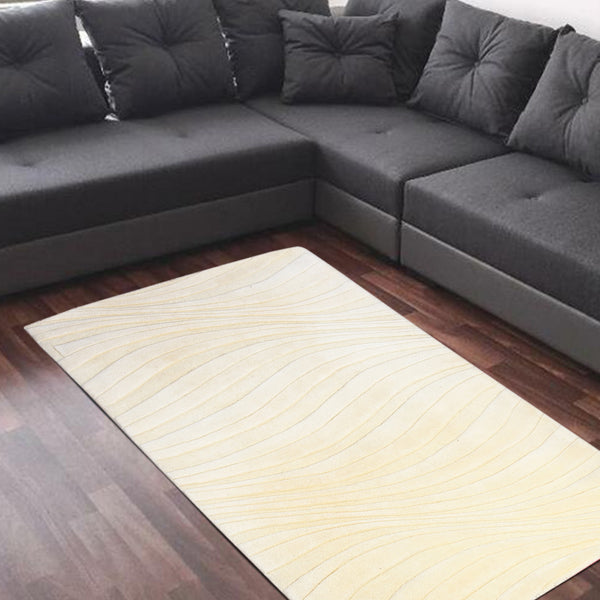 BEIGE EMBOSSED SOLID HAND TUFTED RUG