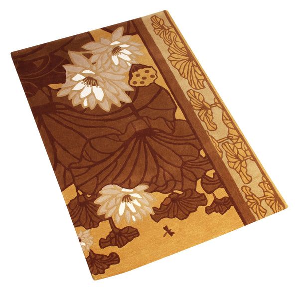 BROWN BEIGE FLORAL HAND TUFTED RUG