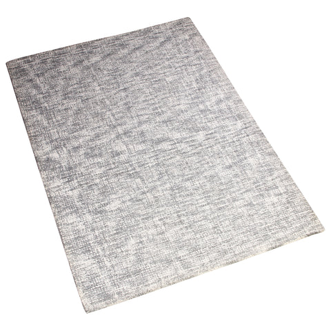 GREY WHITE CHECKED HAND TUFTED RUG