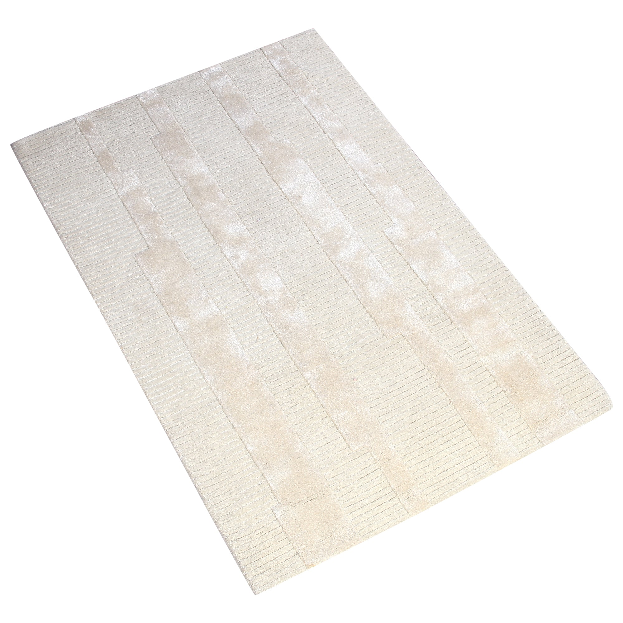 BEIGE EMBOSSED HORIZONTAL STRIPES HAND TUFTED RUG