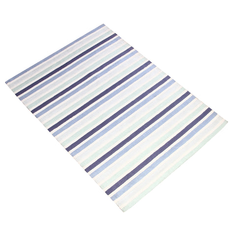 BLUE HORIZONTAL STRIPES HAND TUFTED RUG