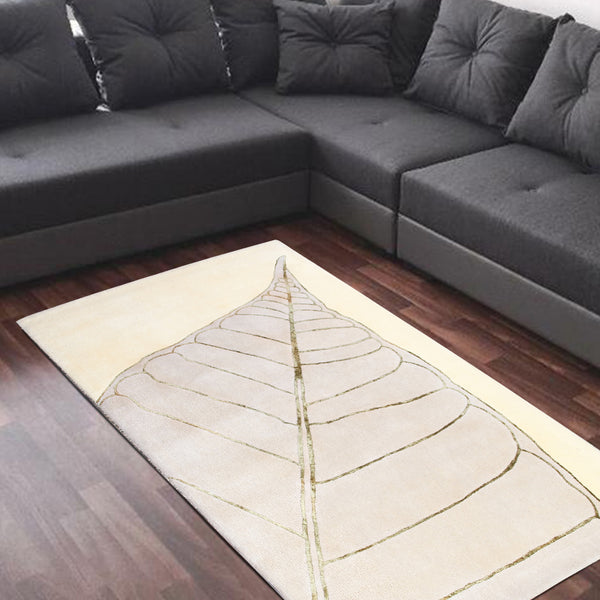 BEIGE GREY FLORAL LEAF DESIGN HAND TUFTED RUG