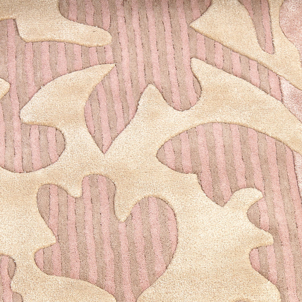 PEACH PINK FLORAL EMBOSSED DOUBLE COLOR HAND TUFTED RUG