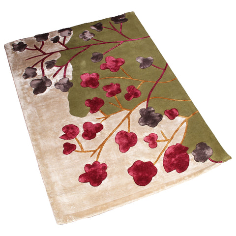 BEIGE GREEN MULTI COLOR FLORAL HAND TUFTED RUG