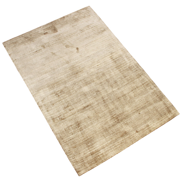 BROWN SOLID SILK HAND TUFTED RUG