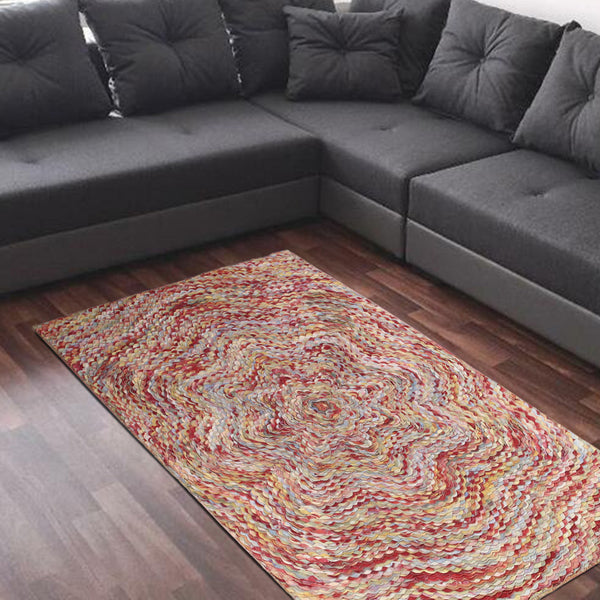 MULTI COLOR FLORAL BRAIDED LAYERED RUG