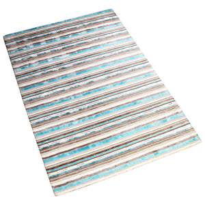 GREY CHARCOAL BLUE HORIZONTAL STRIPES SILK HAND TUFTED RUG