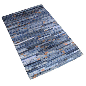 BLUE DENIM BRAIDED RECYCLE RUG