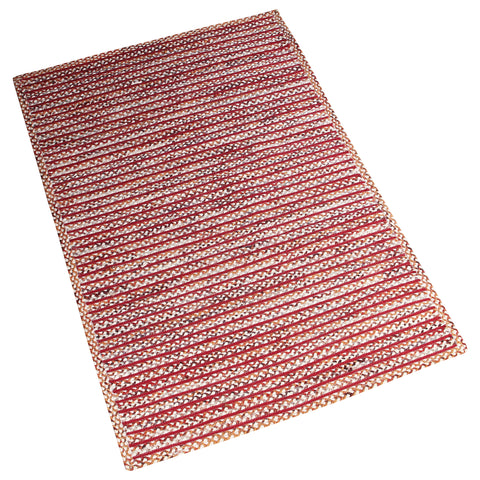 MAROON MULTI COLOR BRAIDED HAND WOVEN RUG