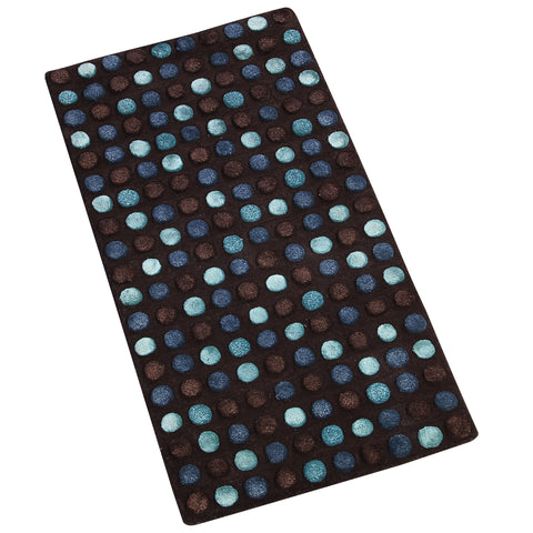 BLUE GREY BROWN EMBOSSED RUNNER HAND TUFTED RUG