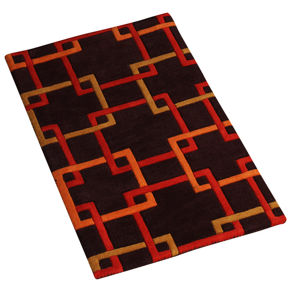 BROWN EMBOSSED GEOMETRIC HAND TUFTED DOORMAT RUNNER RUG