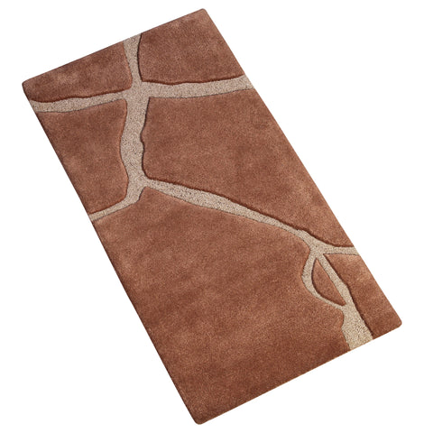 BROWN BEIGE MODERN RUNNER HAND TUFTED RUG
