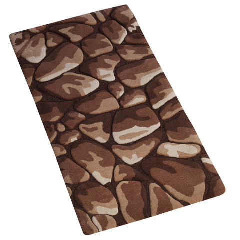 BROWN BEIGE EMBOSSED RUNNER HAND TUFTED RUG