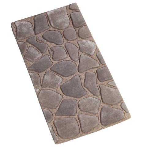 BROWN GREY EMBOSSED RUNNER HAND TUFTED RUG