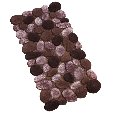 BROWN PEBBLE SHAPE RUNNER HAND TUFTED RUG
