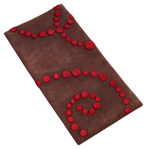 BROWN MAROON GEOMETRIC RUNNER HAND TUFTED RUG