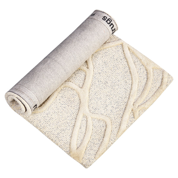 BEIGE ABSTRACT RUNNER HAND TUFTED RUG