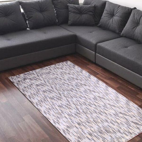 GREY PINK WHITE BLUE SILK ABSTRACT HAND TUFTED RUG