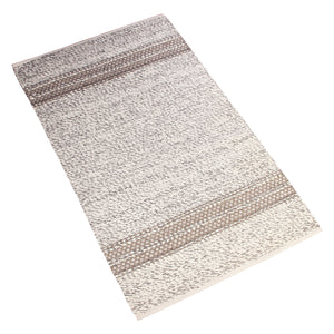 BEIGE BROWN BRAIDED HORIZONTAL STRIPS DURRIE RUG