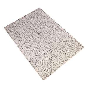 BROWN WHITE NEUTRAL ANIMAL PRINT HANDWOVEN SHAPE RUG