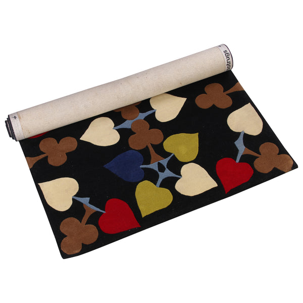 BLACK MULTI COLOR ABSTRACT POKER HAND TUFTED RUG