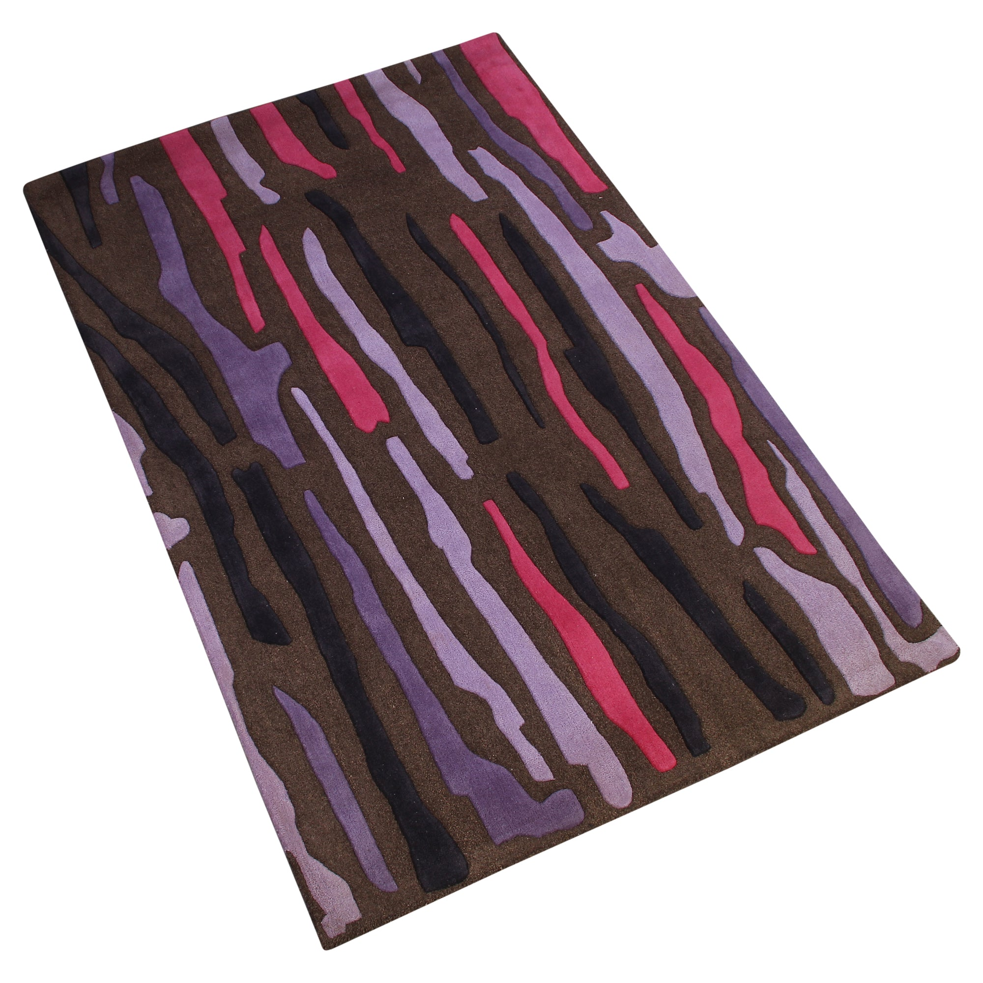 BROWN ABSTRACT MULTI COLOR HAND TUFTED RUG