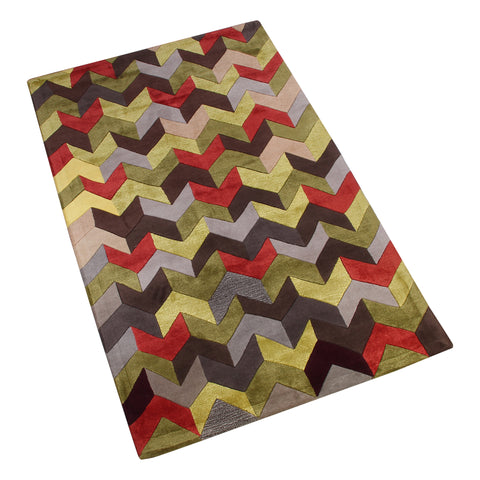 GREEN MULTI COLOR CHEVRON HAND TUFTED RUG