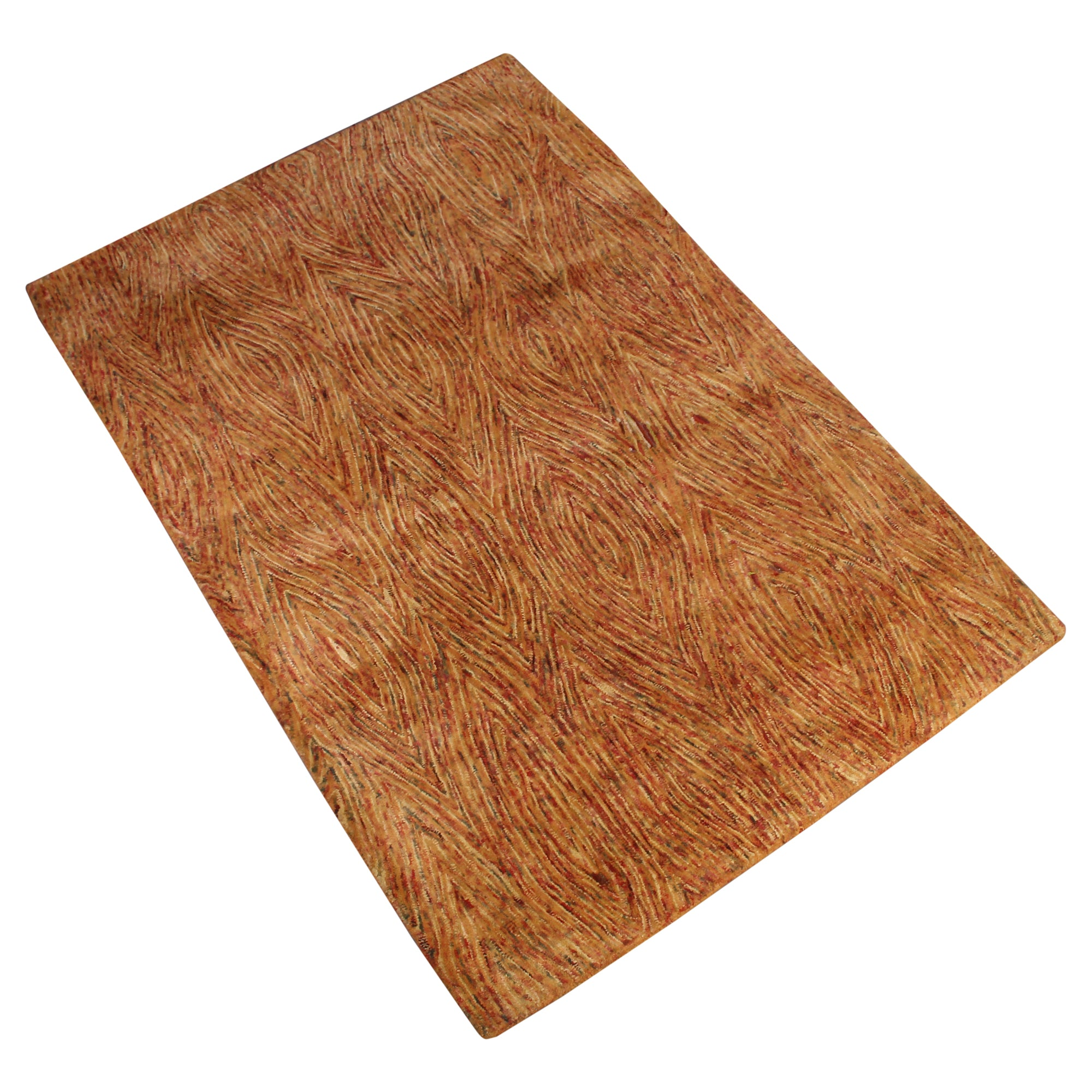 ORANGE ABSTRACT WOODEN BARK DESIGN HAND TUFTED RUG