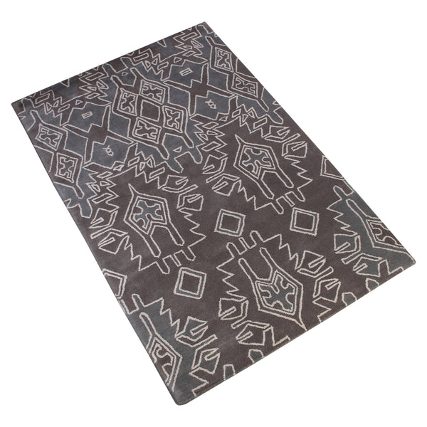 GREY CHARCOAL SUZANI HAND TUFTED RUG