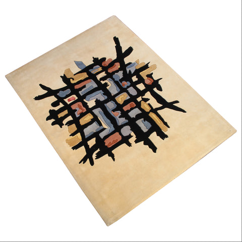 BEIGE MODERN ABSTRACT HAND TUFTED RUG
