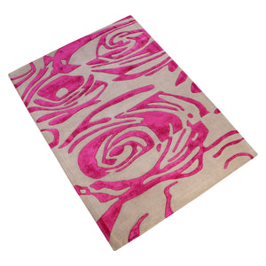 GREY PINK ABSTRACT MODERN DESIGN HAND TUFTED RUG