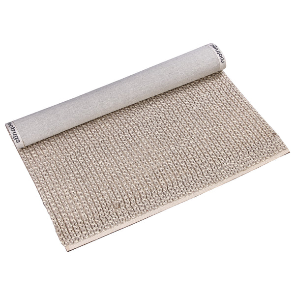 BEIGE BROWN BRAIDED NEUTRAL HAND TUFTED RUG