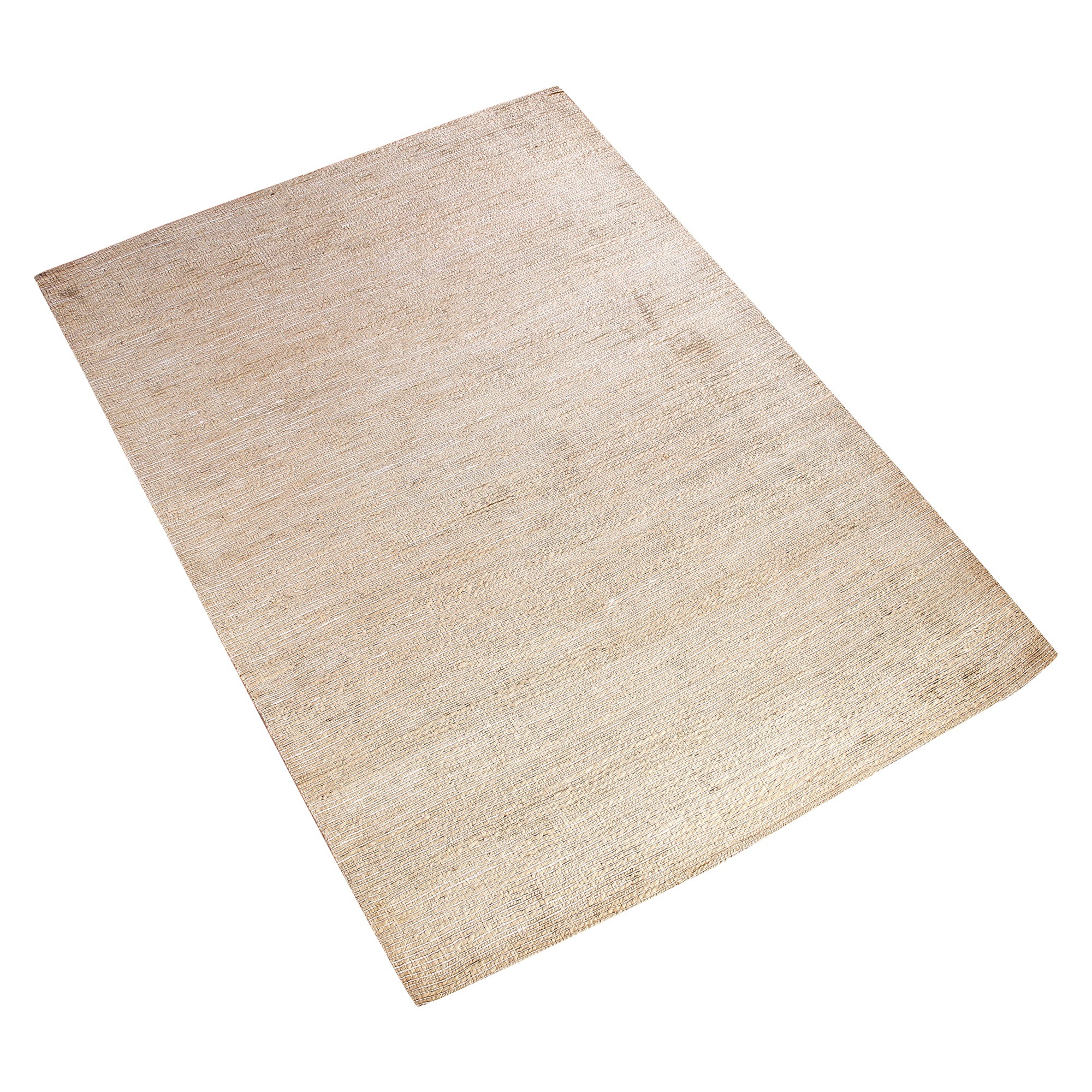 BEIGE NEUTRAL PLAIN JUTE LOOK HAND TUFTED RUG